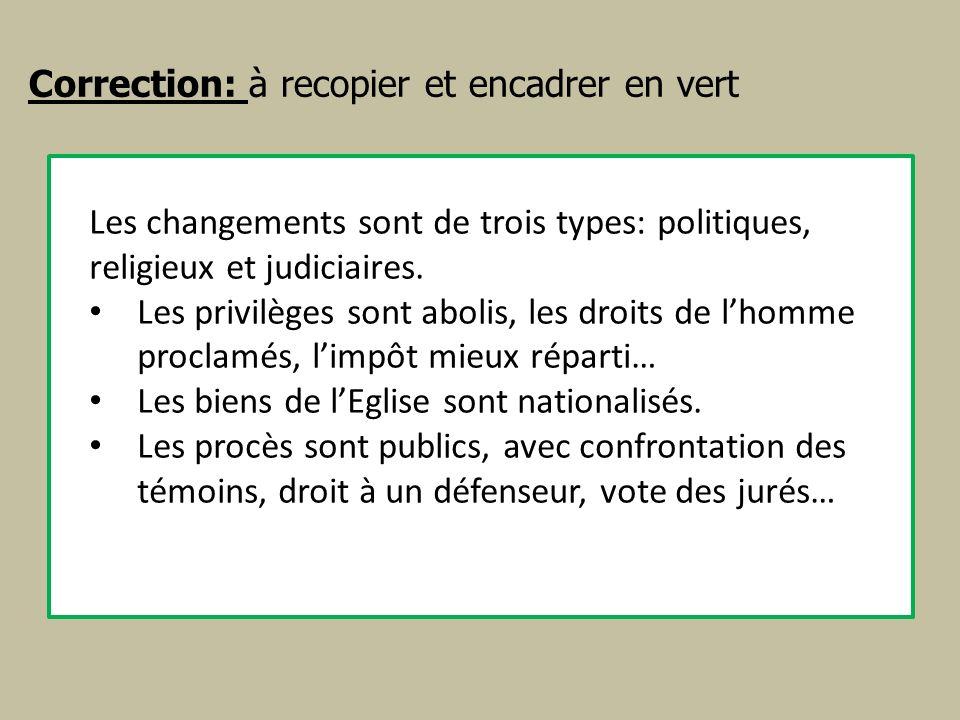 Correction: à recopier et encadrer en vert Les changements sont de trois types: politiques, religieux et judiciaires. Les privilèges sont abolis, les