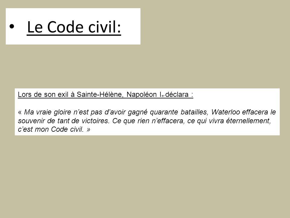 Le Code civil: Lors de son exil à Sainte-Hélène, Napoléon I er déclara : « Ma vraie gloire nest pas davoir gagné quarante batailles, Waterloo effacera