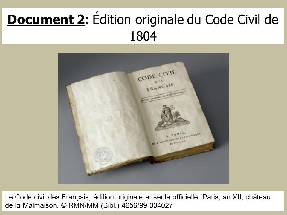 Document 2 : Édition originale du Code Civil de 1804 Le Code civil des Français, édition originale et seule officielle, Paris, an XII, château de la M