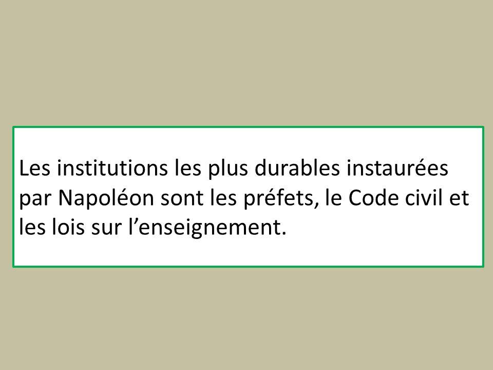 Les institutions les plus durables instaurées par Napoléon sont les préfets, le Code civil et les lois sur lenseignement.