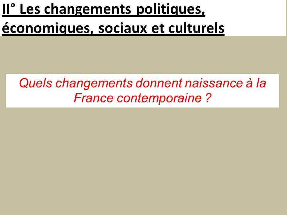 II° Les changements politiques, économiques, sociaux et culturels Quels changements donnent naissance à la France contemporaine ?