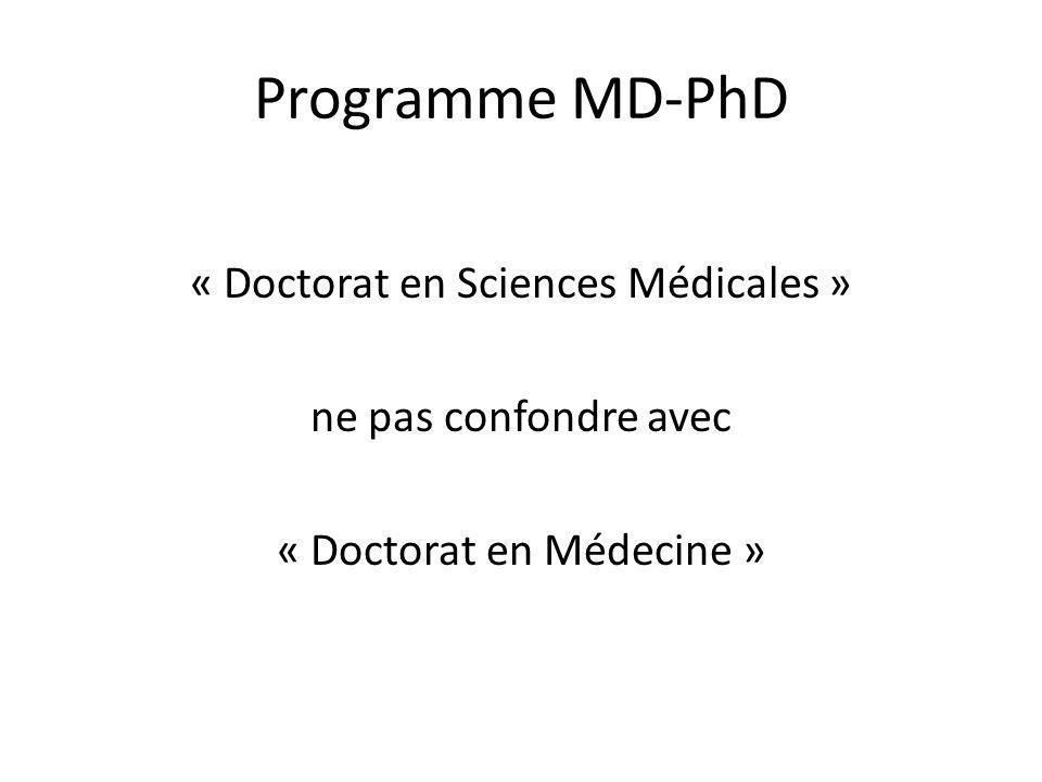 Programme MD-PhD Destiné aux candidats titulaires dun diplôme de médecin But: former la relève académique Décerné par la Faculté de Médecine à lissue dun travail de recherche en médecine fondamentale ou clinique Durée 3 ans (prolongeable)