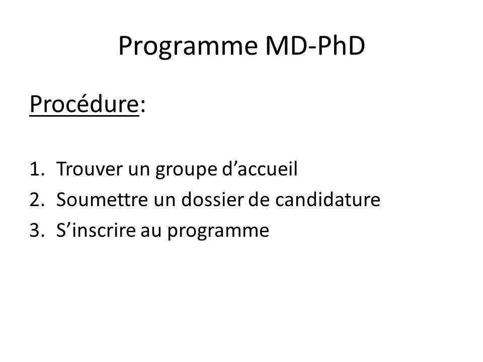 Programme MD-PhD Procédure: 1.Trouver un groupe daccueil Directeur de thèse Sujet de thèse