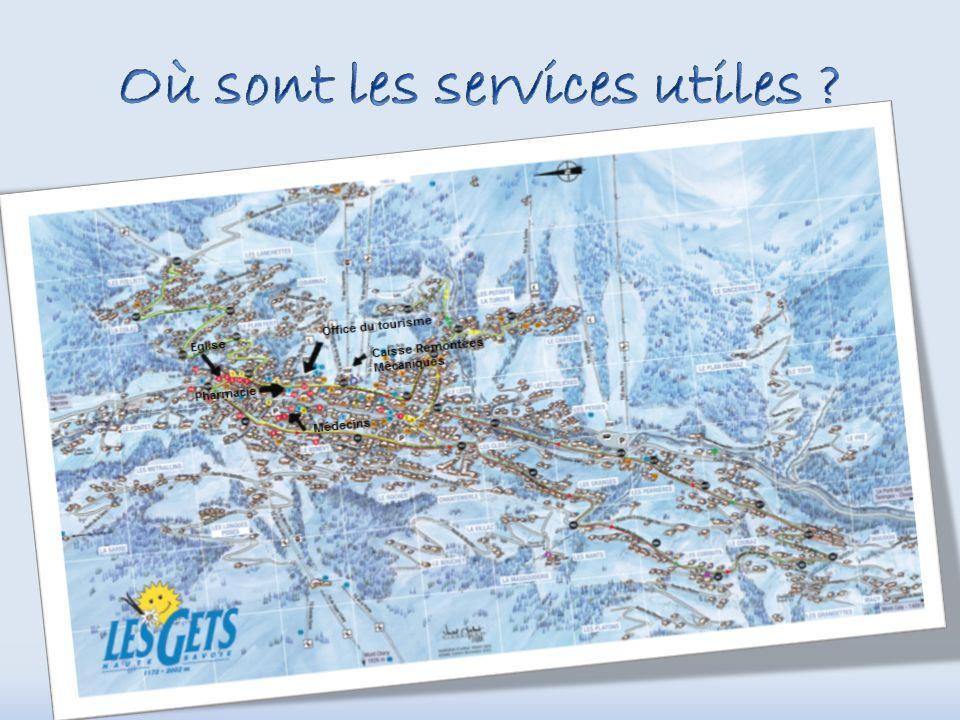 Mairie et Office du tourisme Caisse Remontées Mécaniques Patinoire Les Gets la nuit