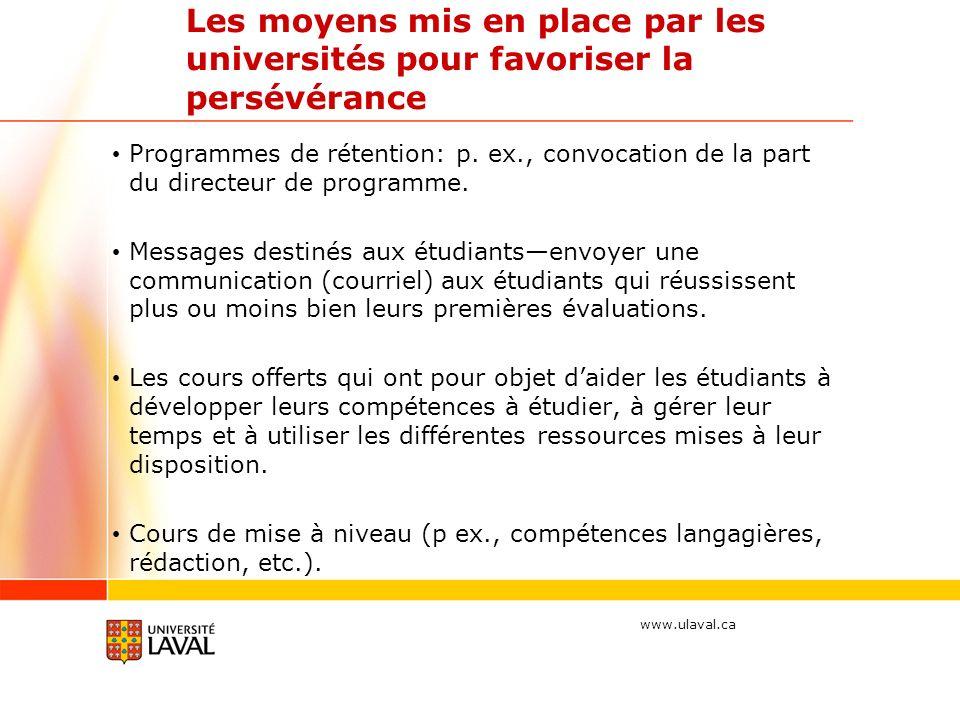 www.ulaval.ca Les moyens mis en place par les universités pour favoriser la persévérance Programmes de rétention: p.