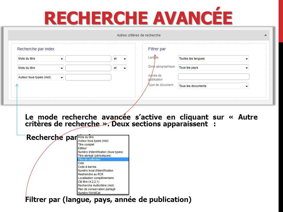 ANNÉE DE PUBLICATION Le formulaire permet de choisir une année ou une période.