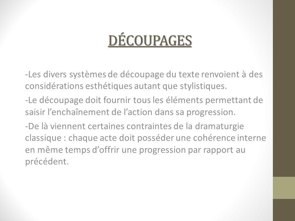DÉCOUPAGES -Les divers systèmes de découpage du texte renvoient à des considérations esthétiques autant que stylistiques. -Le découpage doit fournir t