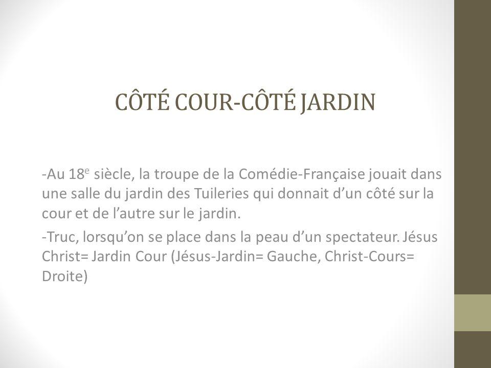 CÔTÉ COUR-CÔTÉ JARDIN -Au 18 e siècle, la troupe de la Comédie-Française jouait dans une salle du jardin des Tuileries qui donnait dun côté sur la cou