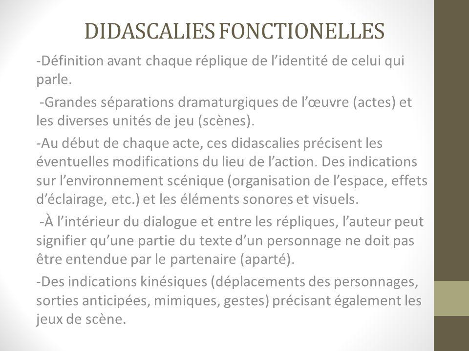 DIDASCALIES FONCTIONELLES -Définition avant chaque réplique de lidentité de celui qui parle. -Grandes séparations dramaturgiques de lœuvre (actes) et