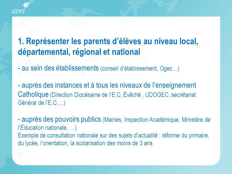 1. Représenter les parents délèves au niveau local, départemental, régional et national - au sein des établissements (conseil détablissement, Ogec…) -