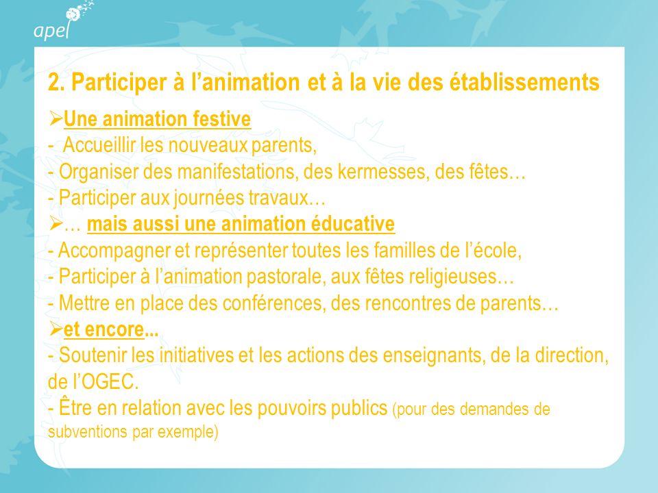 2. Participer à lanimation et à la vie des établissements Une animation festive - Accueillir les nouveaux parents, - Organiser des manifestations, des