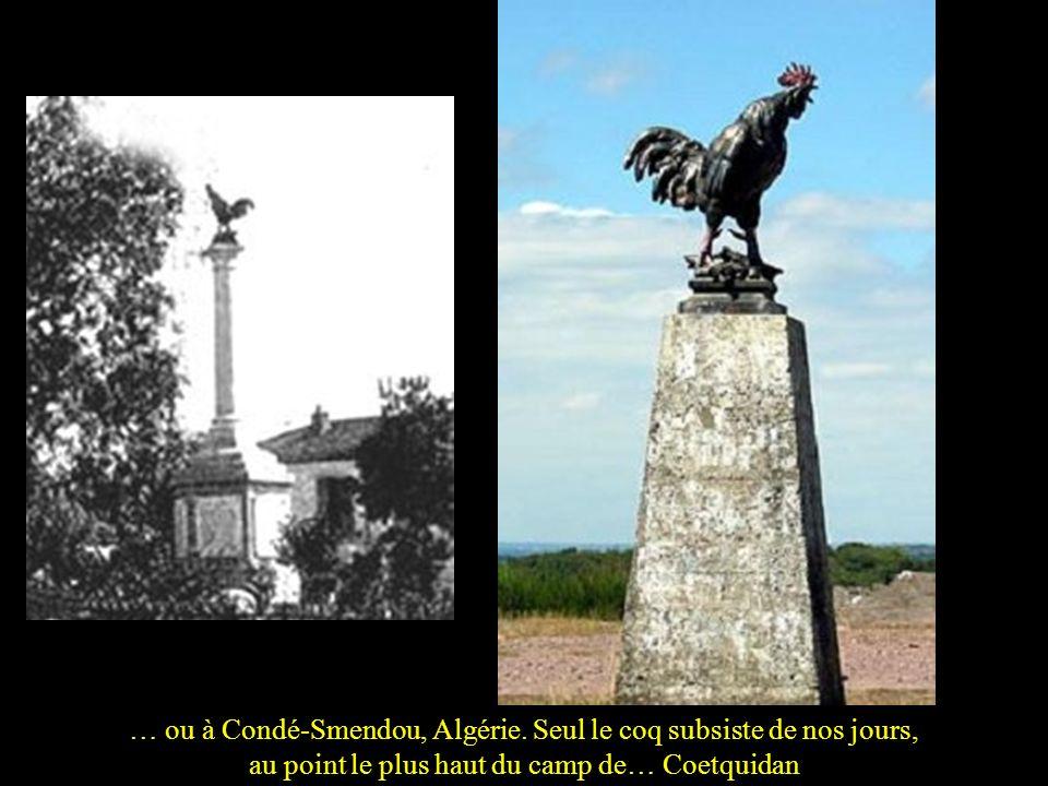 Plus fréquent que le lion est le coq gaulois, comme à Larresingle, Gers…