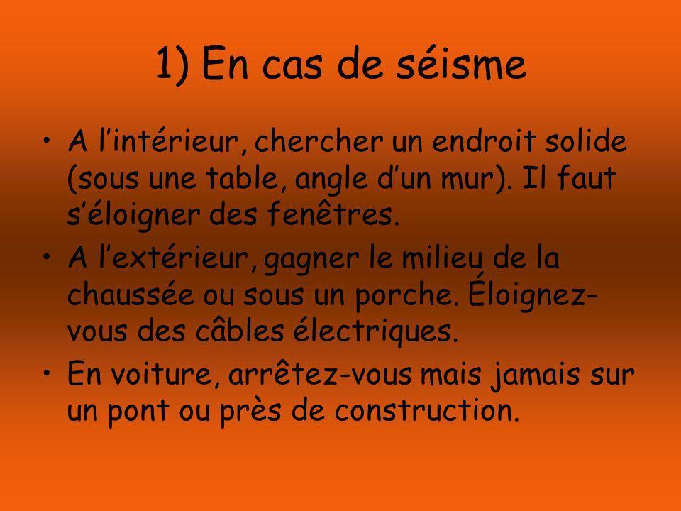 1) En cas de séisme A lintérieur, chercher un endroit solide (sous une table, angle dun mur).