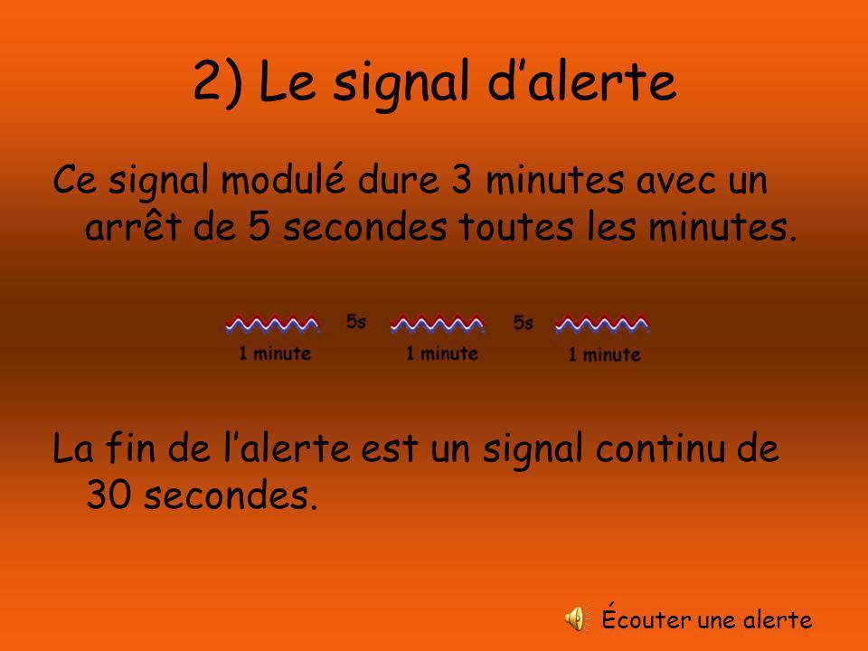 2) Le signal dalerte Ce signal modulé dure 3 minutes avec un arrêt de 5 secondes toutes les minutes.