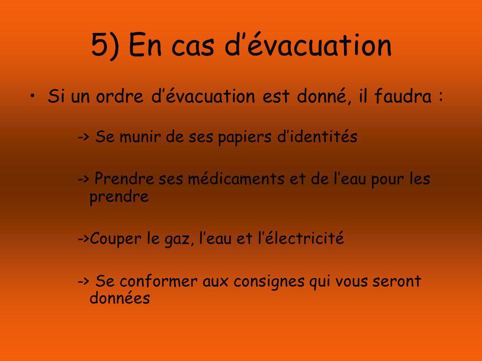 5) En cas dévacuation Si un ordre dévacuation est donné, il faudra : -> Se munir de ses papiers didentités -> Prendre ses médicaments et de leau pour les prendre ->Couper le gaz, leau et lélectricité -> Se conformer aux consignes qui vous seront données