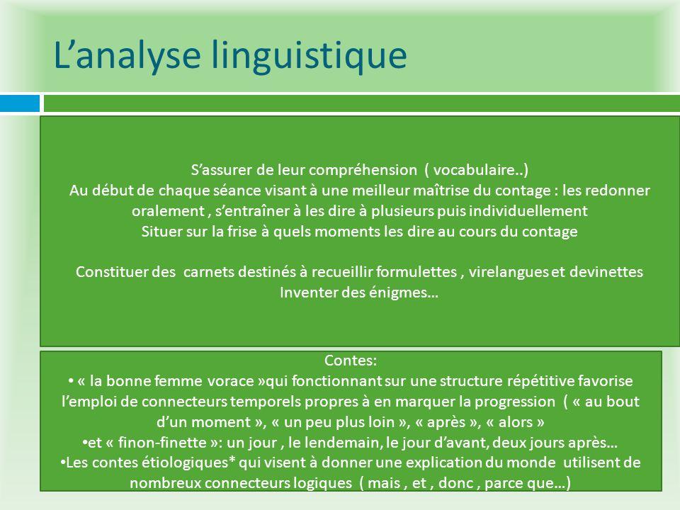 Lanalyse linguistique Elle permet de sintéresser aux formulettes, énigmes ou devinettes qui ponctuent les contes. Elles sont faciles à mémoriser et re