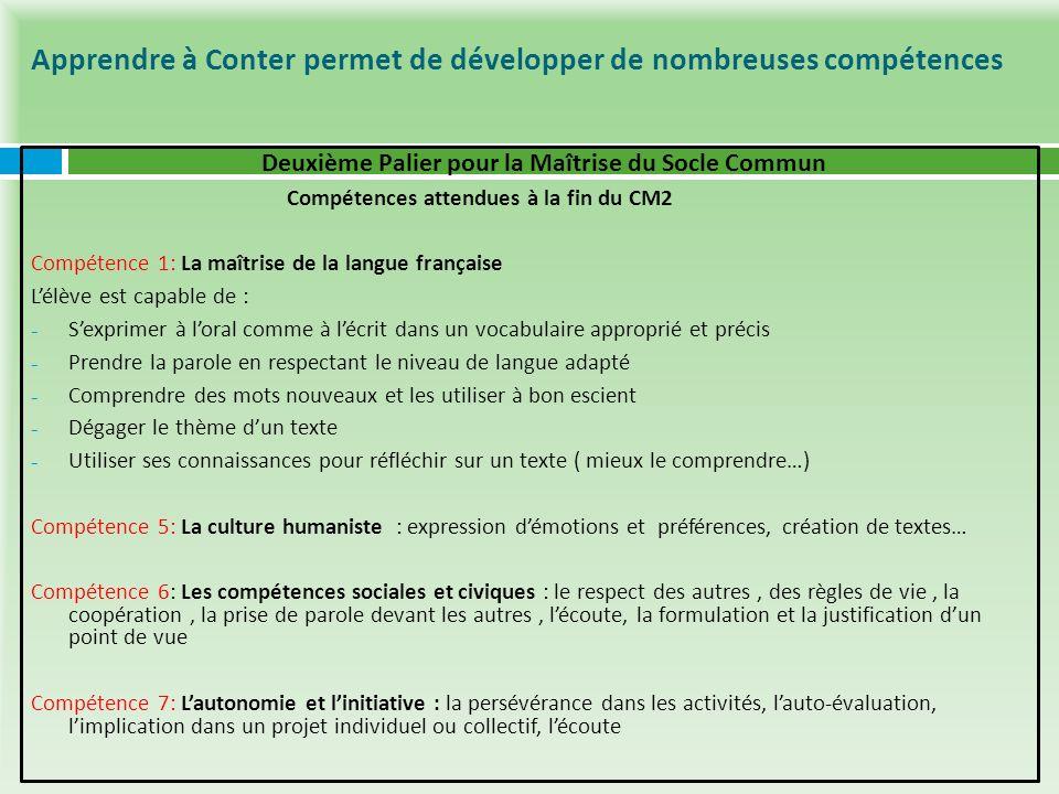 Apprendre à Conter permet de développer de nombreuses compétences Deuxième Palier pour la Maîtrise du Socle Commun Compétences attendues à la fin du C
