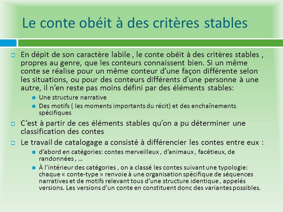 Le conte obéit à des critères stables En dépit de son caractère labile, le conte obéit à des critères stables, propres au genre, que les conteurs conn