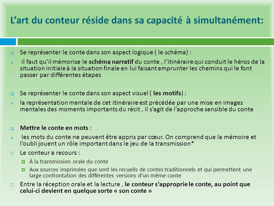 Lart du conteur réside dans sa capacité à simultanément: Se représenter le conte dans son aspect logique ( le schéma) : il faut quil mémorise le schém