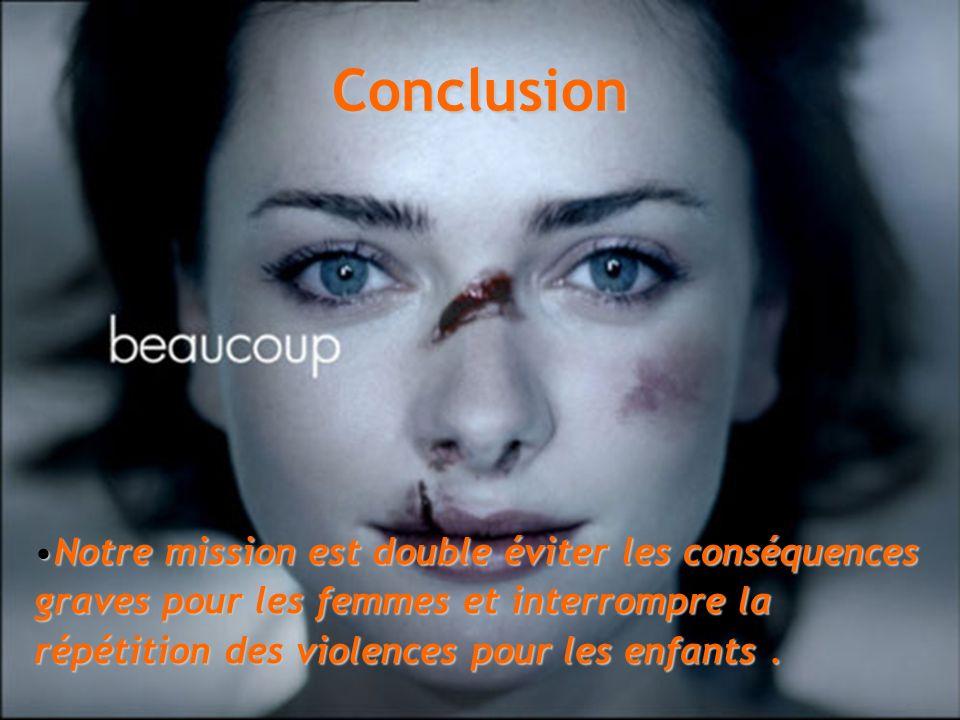 Conclusion Notre mission est double éviter les conséquences graves pour les femmes et interrompre la répétition des violences pour les enfants.Notre m
