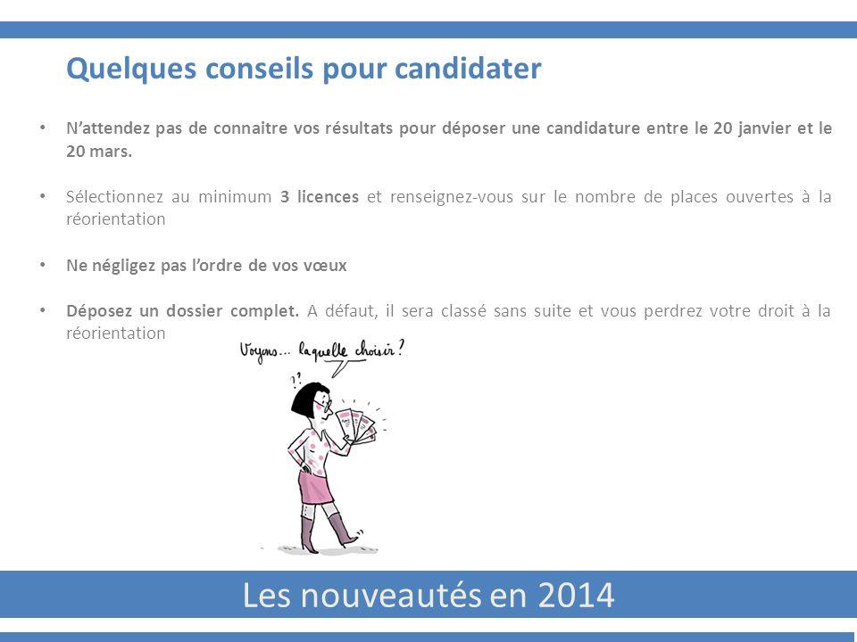 Les nouveautés en 2014 Quelques conseils pour candidater Nattendez pas de connaitre vos résultats pour déposer une candidature entre le 20 janvier et le 20 mars.