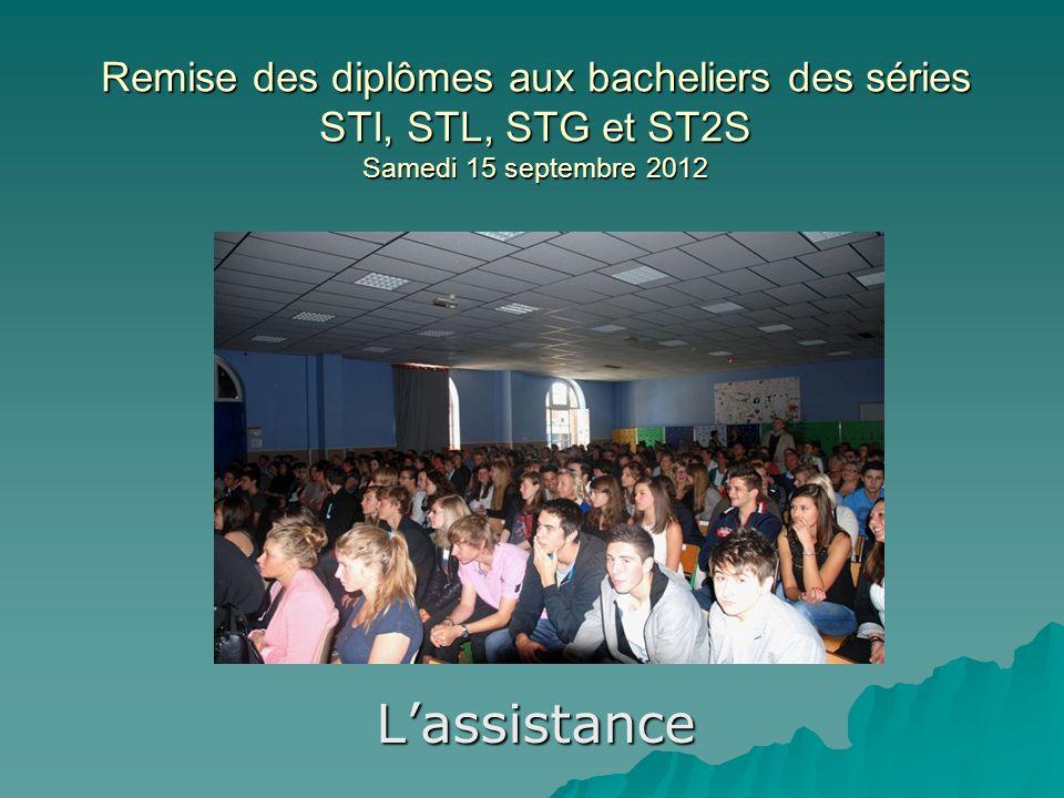 Remise des diplômes aux bacheliers des séries STI, STL, STG et ST2S Samedi 15 septembre 2012 Lassistance