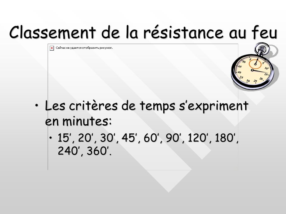 Classement de la résistance au feu Il est également attribué un degré de classement selon la durée minimale de résistance au feu. Les exigences de sta