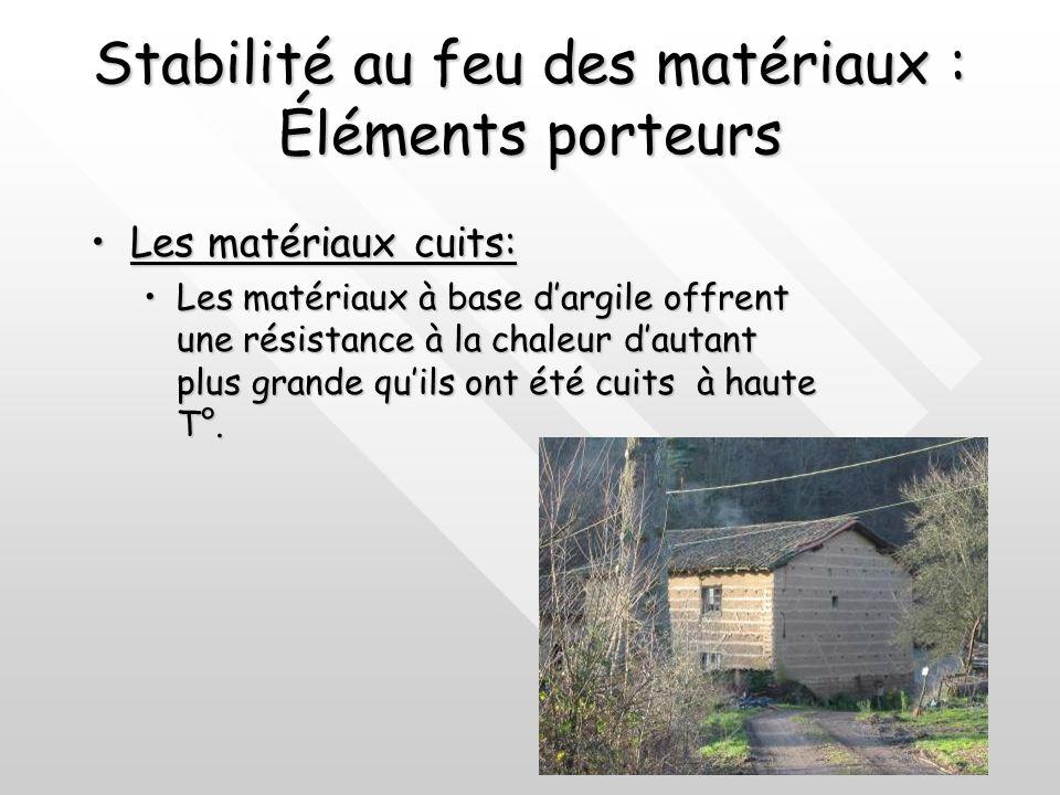 Stabilité au feu des matériaux : Éléments porteurs Les matériaux dorigine minérale:Les matériaux dorigine minérale: En général les pierres sont incomb