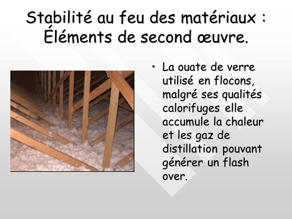Stabilité au feu des matériaux : Éléments de second œuvre. La laine de verre est un excellent isolant mais est livrée en sandwich entre 2 feuilles de