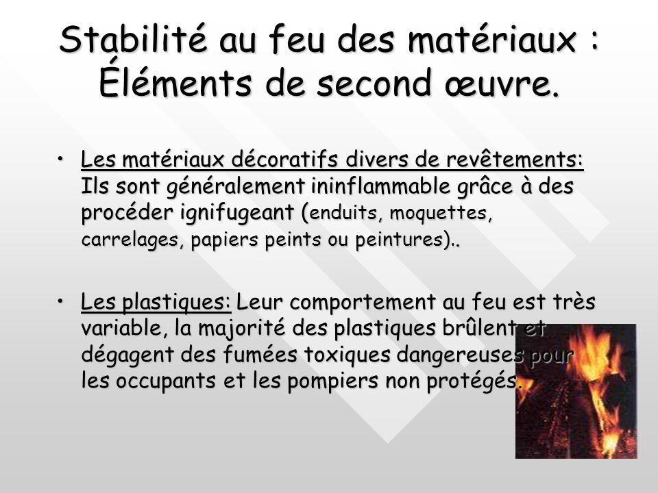 Stabilité au feu des matériaux : Éléments de second œuvre. La ouate de verre utilisé en flocons, malgré ses qualités calorifuges elle accumule la chal