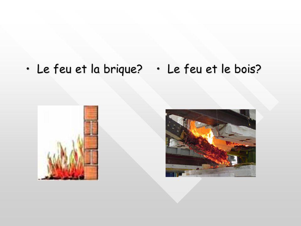 Stabilité au feu des matériaux : Éléments porteurs Le bois:Le bois: Son comportement varie en fonction de :Son comportement varie en fonction de : Ses dimensions;Ses dimensions; Son essence;Son essence; Son taux dhumidité.Son taux dhumidité.