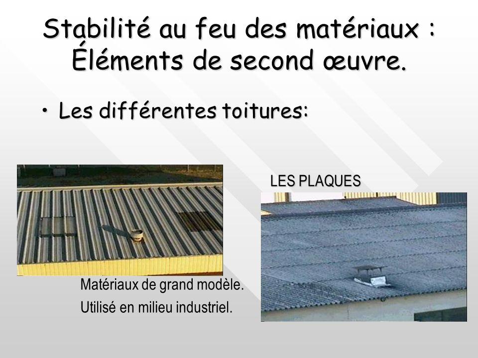 Stabilité au feu des matériaux : Éléments de second œuvre. Les différentes toitures:Les différentes toitures: Les toitures zinc:Les toitures zinc: Sup