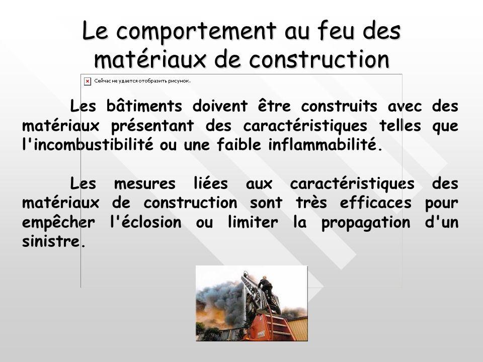 Le comportement au feu des matériaux de construction Les bâtiments doivent être construits avec des matériaux présentant des caractéristiques telles que l incombustibilité ou une faible inflammabilité.