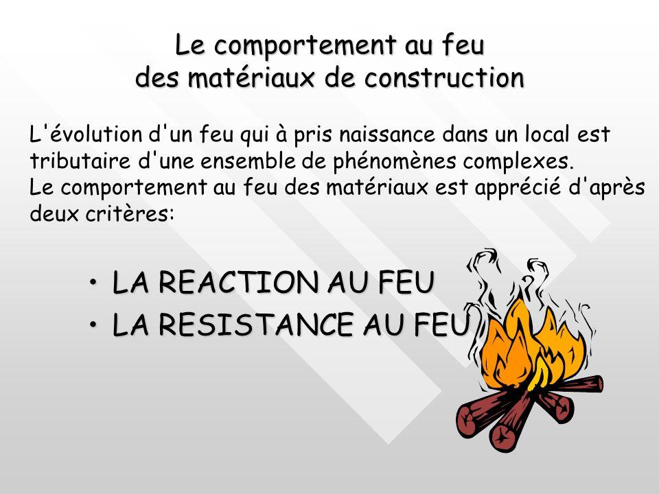 Le comportement au feu des matériaux de construction LA REACTION AU FEULA REACTION AU FEU LA RESISTANCE AU FEULA RESISTANCE AU FEU L évolution d un feu qui à pris naissance dans un local est tributaire d une ensemble de phénomènes complexes.