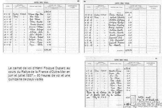 Le carnet de vol dHenri Fouque Duparc au cours du Rallye de la France dOutre-Mer en juin et juillet 1937 – 80 heures de vol et une quinzaine de pays v