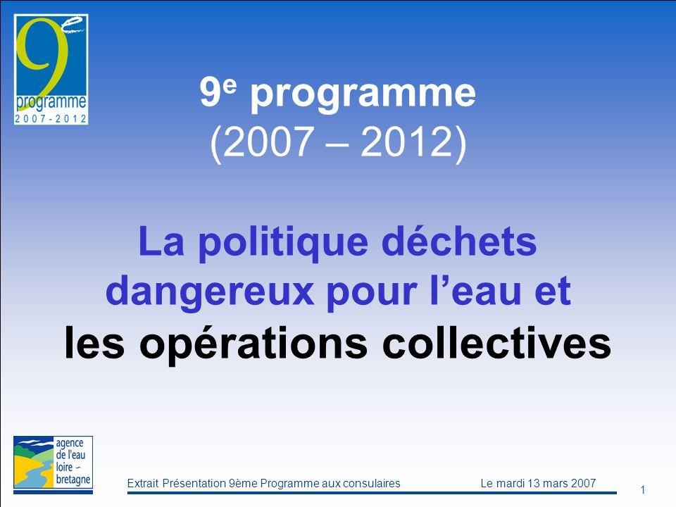 Extrait Présentation 9ème Programme aux consulaires Le mardi 13 mars 2007 1 9 e programme (2007 – 2012) La politique déchets dangereux pour leau et les opérations collectives