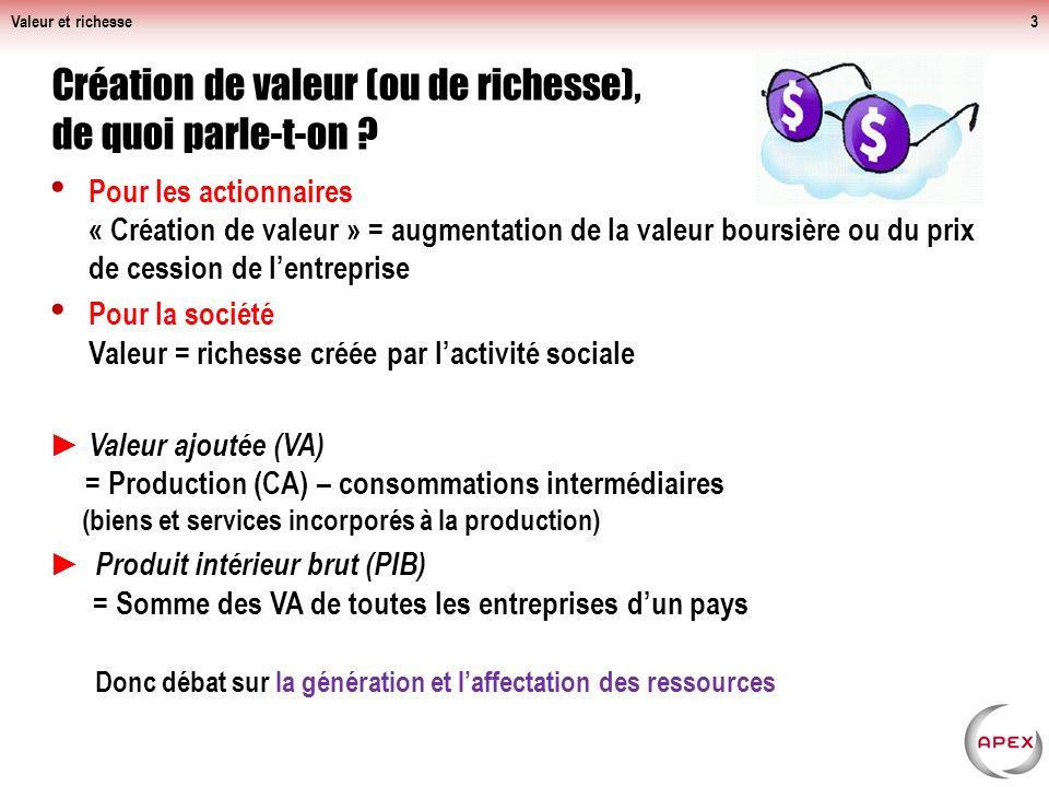 Transfert de valeur et partage des richesses créées À la racine des solutions Valeur et richesse14