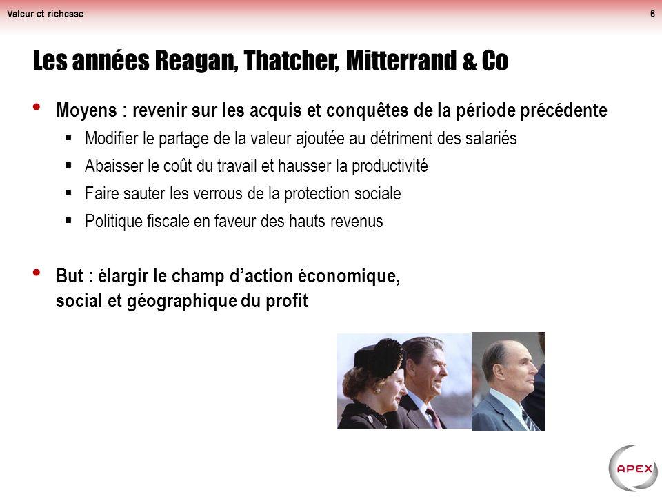 Moyens : revenir sur les acquis et conquêtes de la période précédente Modifier le partage de la valeur ajoutée au détriment des salariés Abaisser le coût du travail et hausser la productivité Faire sauter les verrous de la protection sociale Politique fiscale en faveur des hauts revenus But : élargir le champ daction économique, social et géographique du profit Valeur et richesse6 Les années Reagan, Thatcher, Mitterrand & Co