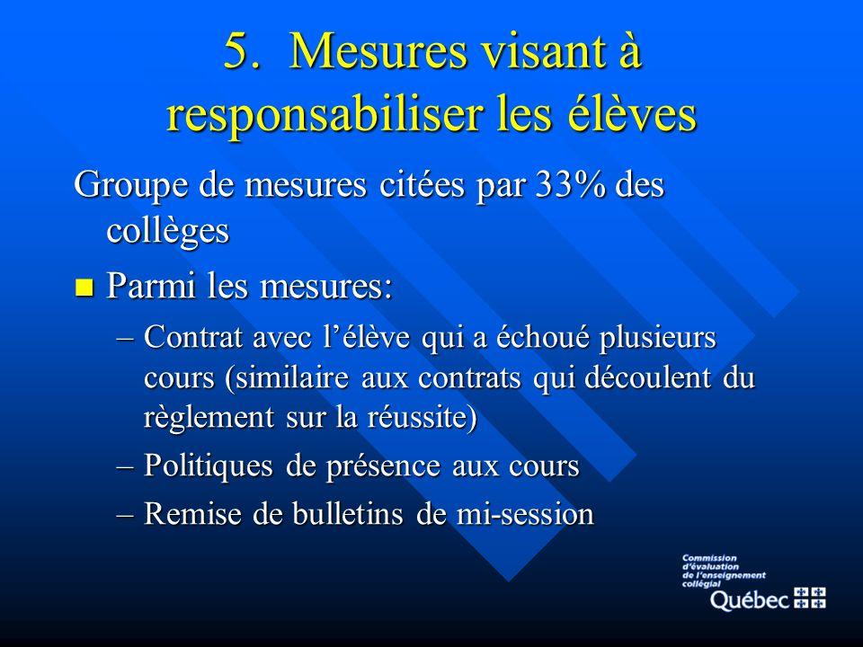 5. Mesures visant à responsabiliser les élèves Groupe de mesures citées par 33% des collèges Parmi les mesures: Parmi les mesures: –Contrat avec lélèv