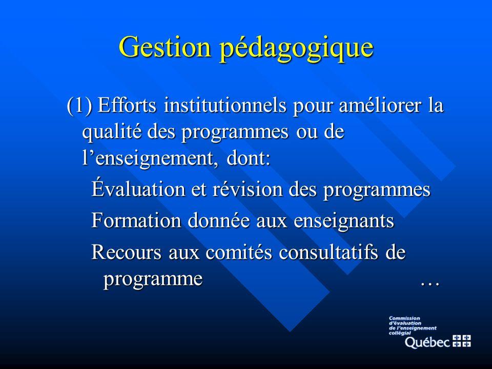 Gestion pédagogique (1) Efforts institutionnels pour améliorer la qualité des programmes ou de lenseignement, dont: Évaluation et révision des programmes Formation donnée aux enseignants Recours aux comités consultatifs de programme …