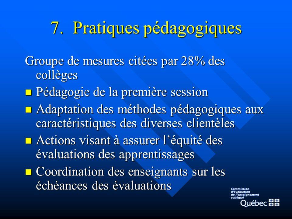 7. Pratiques pédagogiques Groupe de mesures citées par 28% des collèges Pédagogie de la première session Pédagogie de la première session Adaptation d