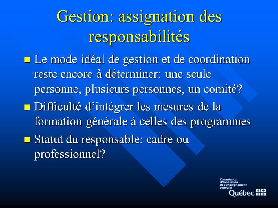 Gestion: assignation des responsabilités Le mode idéal de gestion et de coordination reste encore à déterminer: une seule personne, plusieurs personnes, un comité.