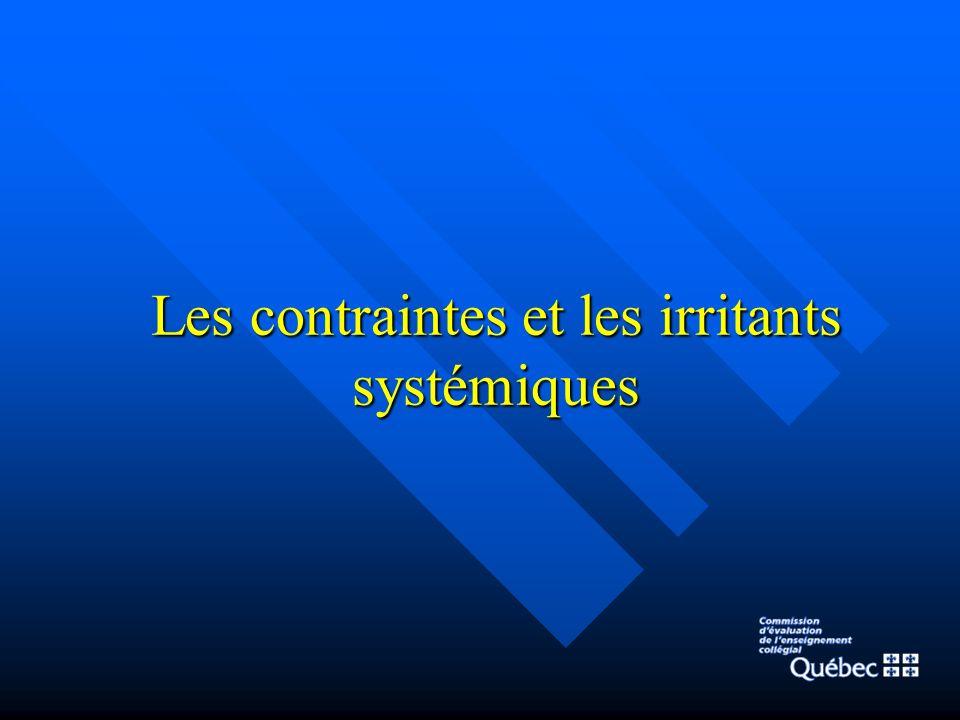Les contraintes et les irritants systémiques