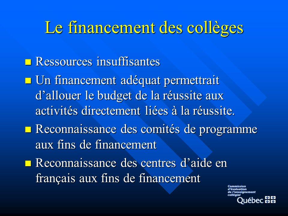 Le financement des collèges Ressources insuffisantes Ressources insuffisantes Un financement adéquat permettrait dallouer le budget de la réussite aux activités directement liées à la réussite.