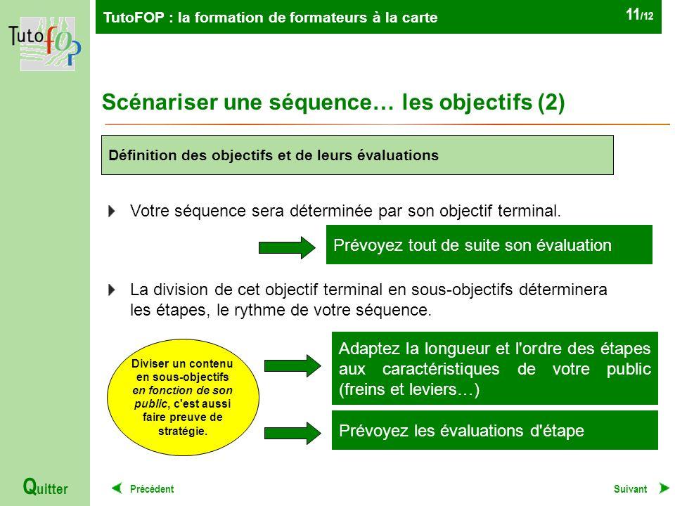 TutoFOP : la formation de formateurs à la carte Précédent Q uitter 11 /12 Scénariser une séquence… les objectifs (2) Suivant Votre séquence sera déterminée par son objectif terminal.