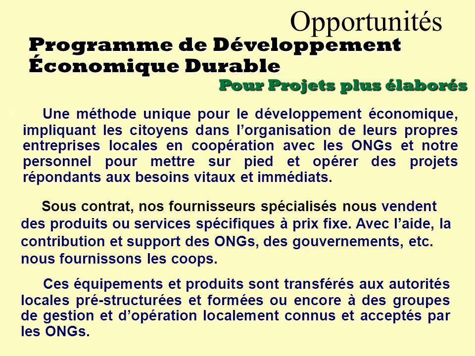 Opportunités La gérance des unités de commercialisation (coops, etc.) payera la Fondation à raison de 40% de ses revenus.