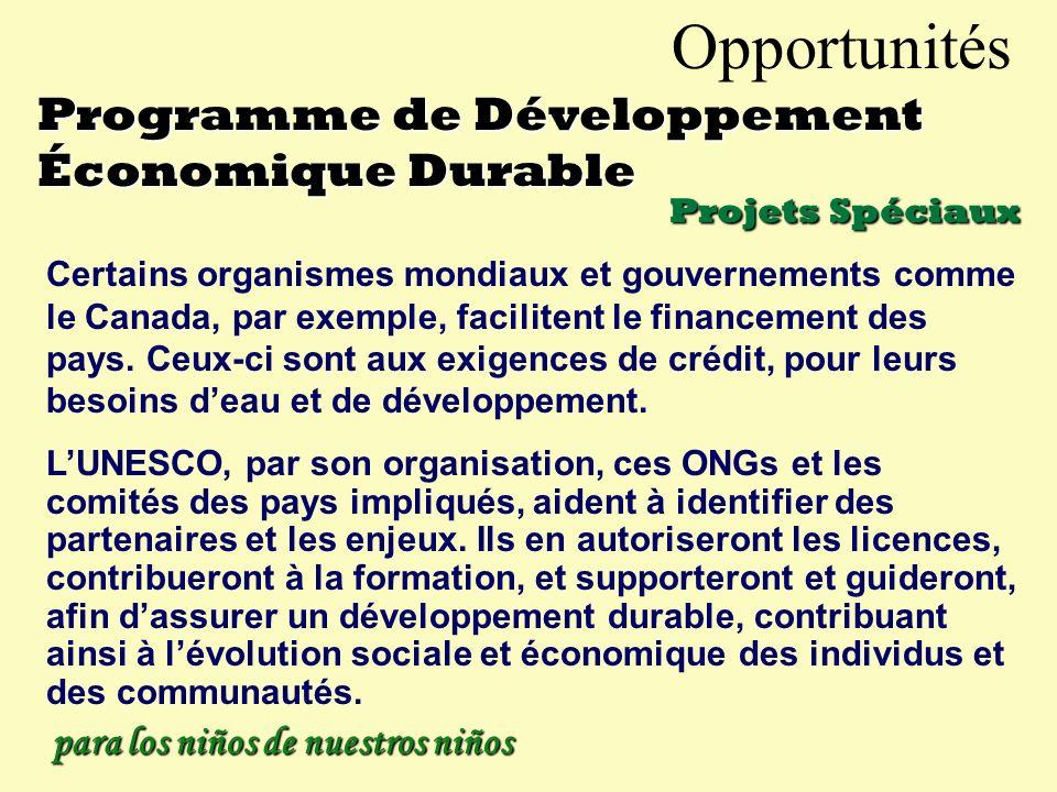 Opportunités Programme de Développement Économique Durable Pour Projets plus élaborés Une méthode unique pour le développement économique, impliquant