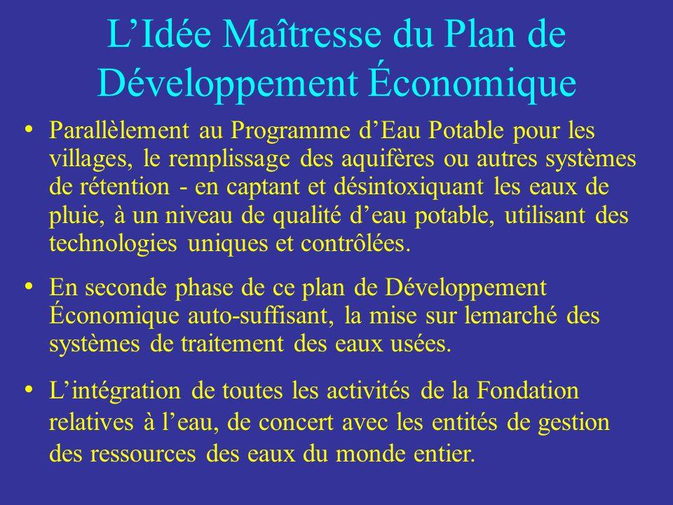 LIdée Maîtresse du Plan de Développement Économique Phase Initiale du projet Les coopératives et leau sont immédiatement nécessaire pour la subsistance, la santé et lauto-suffisance du Développement Économique des populations défavorisées.