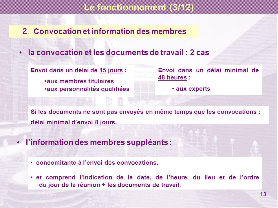 2. Convocation et information des membres la convocation et les documents de travail : 2 cas Envoi dans un délai de 15 jours : aux membres titulaires