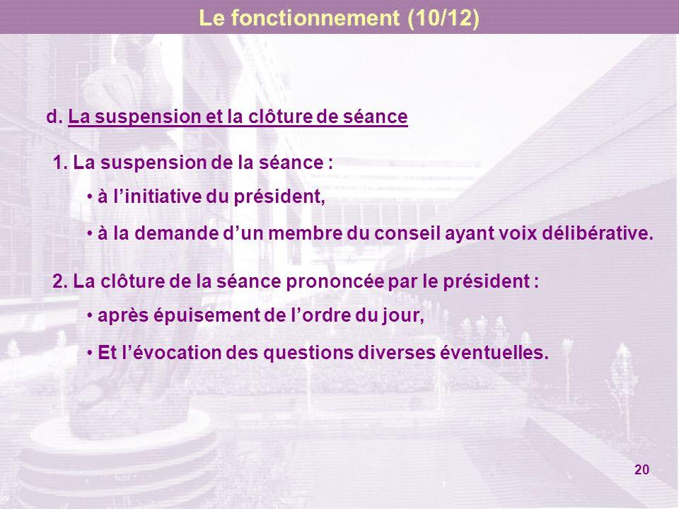 d.La suspension et la clôture de séance 1.